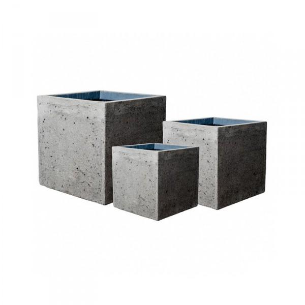 Block Pflanzkübel Laterite Grey Collection 3er Set | Terramedina ...